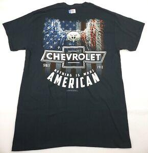 Men's Chevy More American Cotton T-Shirt, Black, Medium, New, Free Ship