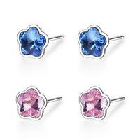 Women Lady Girl 925 Sterling Silver Natural Crystal Flower Ear Stud Earrings