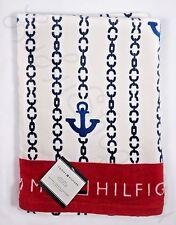 "Tommy Hilfiger blue anchor chain nautical red pool beach bath towel 35"" x 66"""