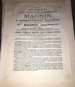 PUBLICITÉ POUR LA MAISON MAGNIN, CLERMONT-FERRAND (PÂTES ALIMENTAIRES).VERS 1900