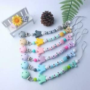 Baby Dummy Soother Wooden Silicon Clip Holder Strap Shower Christening Gift
