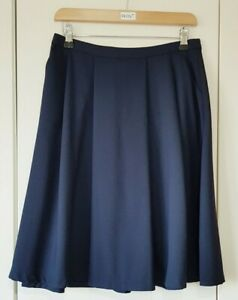 Louche Skirt Size 10 Navy Blue A-line Midi Flare Cindy Skirt Smart Casual Womens