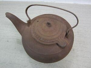 ANTIQUE OLD METAL CAST IRON J.A. GOEWEY ALBANY NY TEA POT WATER KETTLE