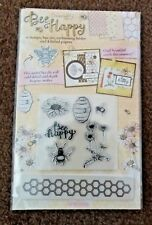 DOVECRAFT BEE HAPPY 6 STAMPS EMBOSSING FOLDER AND 4 FOILED PAPERS