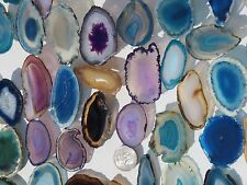 """Brazilian Agate Geode Slab Slice Lot of 100 Small -Mix Colors 1 3/4"""" -2 1/2"""""""