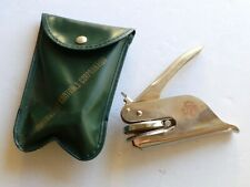 Vintage Quadrastat Controls Hand Legal Pocket Seal Embosser w/Leather Pouch