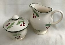 "LAURA ASHLEY ""BERRIES"" SUGAR & CREAMER SET HAND DECORATED IN ENGLAND"