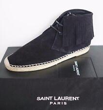 NIB SAINT LAURENT Paris Black Fringe SUEDE High-Top Espadrilles Shoes EU-41 US-8