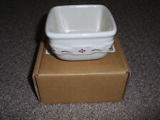 "Longaberger Wt (Set of 2) ""Soft Square Dessert Bowl"", Traditional Red, New!"