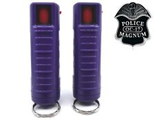 2 PACK Police Magnum pepper spray 1/2oz Purple Molded Keychain Defense Security