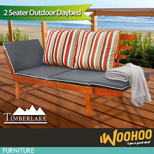 Outdoor Day Bed Cushion Lounge Outside Timber Wood Timberlake Oil Stained 2 Seat