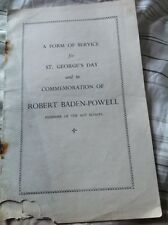 Vintage Order Of Sevice for St Georges Day Robert Baden-Powell Boy Scouts