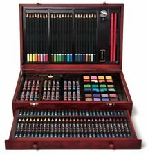 NEW! Art 101 142-Piece Wood Art Set Drawing Paint Brush Oil Pastels Water Color