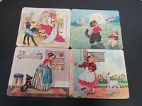 4 1950s Vintage Cardboard Fairy Tale Tray Puzzles by P & M Co. ~ LOVELY ARTWORK!