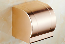 Wall Mounted Toilet Paper Roll Holder Tissue Box With Cover , Rose Gold Aluminum
