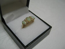 ANTIQUE VICTORIAN STYLE OPAL and DIAMOND  18ct GOLD RING - Size N