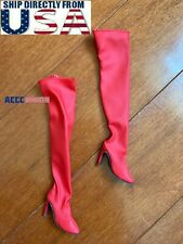"""1/6 Red Over The Knee Boots HOLLOW For 12"""" Hot Toys PHICEN Female Figure U.S.A."""