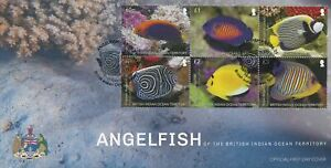 BIOT 2021 FDC Fish Stamps Angelfish Fishes 6v Block