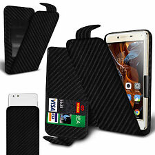 For Samsung Galaxy J3 Emerge - Black Carbon Fibre Clip On Flip Case Cover