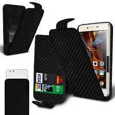 For BQ Aquaris M5.5 - Black Carbon Fibre Clip On Flip Case Cover