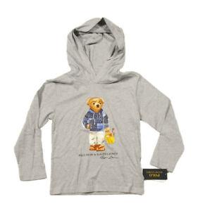 Polo Ralph Lauren Boys Gray Heather Beach Polo Bear Graphic Hooded T-Shirt