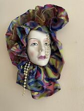 More details for vintage lady wall hanging mask hand painted