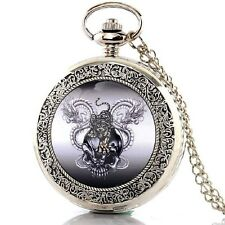 Reloj de bolsillo scull & Animals carcasa de acero inoxidable + cadena 80cm Death Head Biker MC