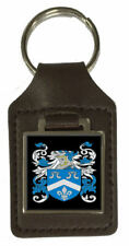 Mcalees Family Crest Surname Coat Of Arms Brown Leather Keyring Engraved
