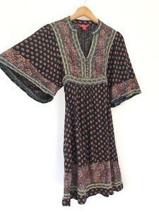Monsoon Gypsy Peasant Dress UK 10 Black Floral Embroidery Wide Sleeves Boho Folk