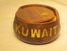 vintage KUWAIT wood inlaid brass detail coaster set 6 coasters w/ holder