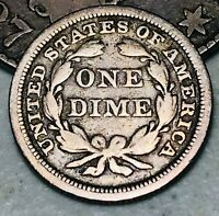1850 Seated Liberty Dime 10c High Grade Details Good 90% Silver US Coin CC4389
