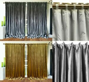 Plush Velvet Curtains ROD POCKET Tape Top thick long Velvet Lined Mustard Gold