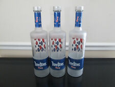 Lot of 3 Empty 1 Liter 1000 ML Three Olives Berry Vodka Bottles, with Caps