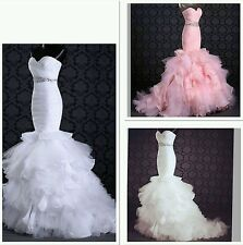 UK Hot mermaid white/Ivory/Pink  Organza Wedding Dress Bridal Gown Custom made.