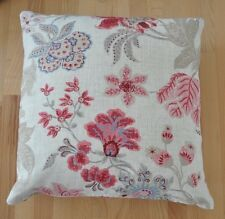 New 16inch reversible zipped cotton cushion Cream/pink/grey flowers shabby chic
