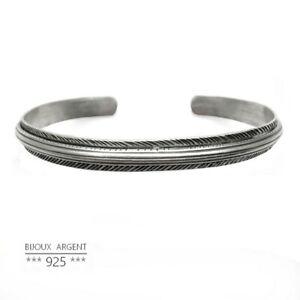 Bracelet jonc large style vintage en Argent 925 - Bijou homme