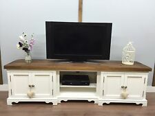 SHABBY CHIC TV UNIT Farmhouse RUSTIC LARGE Plasma Stand White