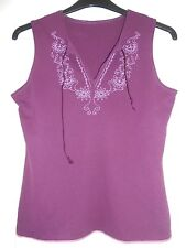 Purple Sleeveless T-Shirt with Tie Neck and Painted Flower Pattern, Size 12/14