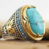 925 Silver Turkish Handmade Turquoise Stone Ottoman Men's Luxury Ring Size 6-10