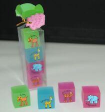8 mini rubbers Giraffe lion tiger elephant in presentation packaging Free Pp A89