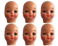 Lot of 6 Vintage Blue Eyed Girl Celluloid Plastic Craft Doll Making Faces Masks