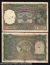 INDIA 100 RUPEES P20 1943 BRITISH KING GEORGE VI BOMBAY TIGER GB UK SCARCE NOTE