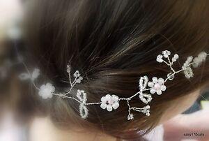 "Wedding Hair Vine Pearls Silver Tiara headband crown bridal Boho Pagan plait 10"""