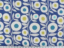 Drapery Upholstery Fabric Cotton Slub Abstract Fllowers / Leaves - Cobalt Blue
