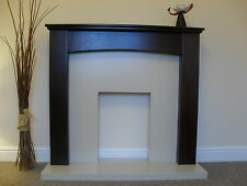 GAS OR ELECTRIC BROWN MANGO WOOD & CREAM MARBLE STONE WALL FIRE FIREPLACE SUITE
