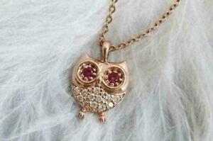 0.90 CT Round Red Ruby And Diamond Owl Pendant With Chain 14k Rose Gold Finish