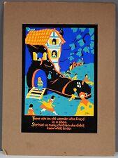 VINTAGE JACK PERKINS CHILDREN BOOK SILKSCREEN OLD LADY LIVED IN SHOE ART BOARD