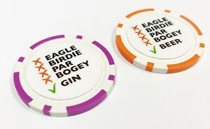 Beer / Gin Poker Chip golf ball marker. Society Societies, Stag, Swindle