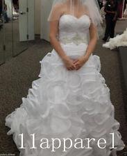 Plus Size Wedding Dresses Bridal Gowns White/Ivory Organza Ruffled Custom 4-26++