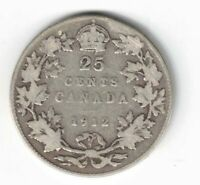 CANADA 1912 TWENTY FIVE CENTS QUARTER KING GEORGE V STERLING SILVER COIN